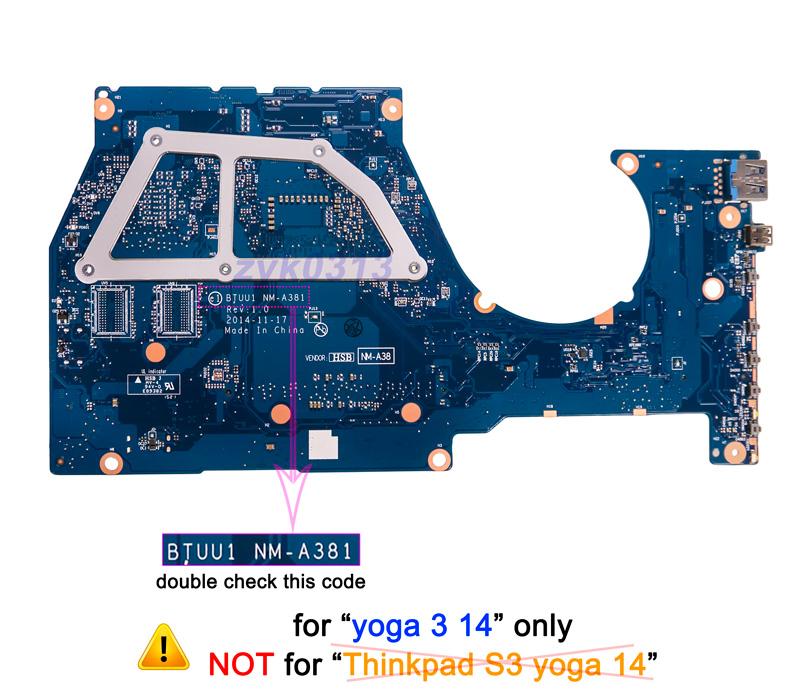 Lenovo Yoga 3 14 3 1470 Laptop BTUU1 NM-A381 i7-5500U 2 4Ghz CPU